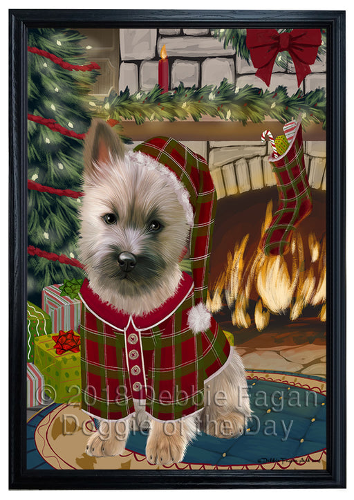 The Stocking was Hung Cairn Terrier Dog Framed Canvas Print Wall Art FCVS176469