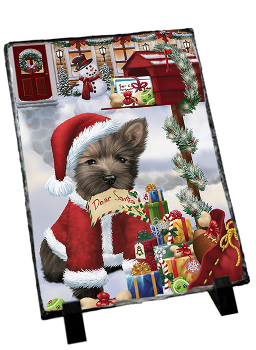 Cairn Terrier Dog Dear Santa Letter Christmas Holiday Mailbox Sitting Photo Slate SLT57499