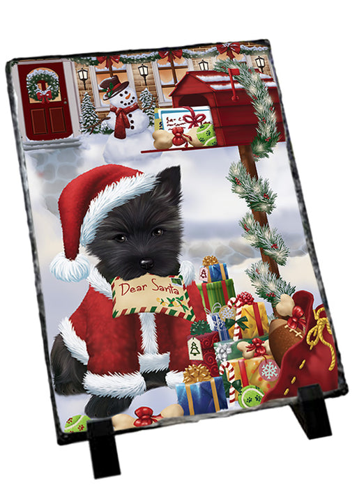 Cairn Terrier Dog Dear Santa Letter Christmas Holiday Mailbox Sitting Photo Slate SLT57500