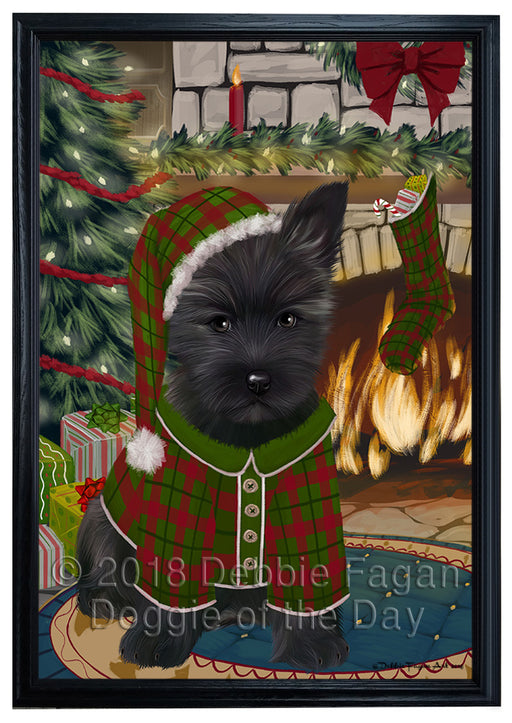 The Stocking was Hung Cairn Terrier Dog Framed Canvas Print Wall Art FCVS176486