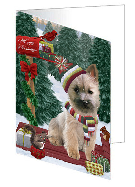 Merry Christmas Woodland Sled Cairn Terrier Dog Note Card NCD69164