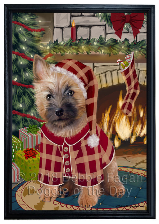 The Stocking was Hung Cairn Terrier Dog Framed Canvas Print Wall Art FCVS176503