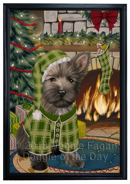 The Stocking was Hung Cairn Terrier Dog Framed Canvas Print Wall Art FCVS176520