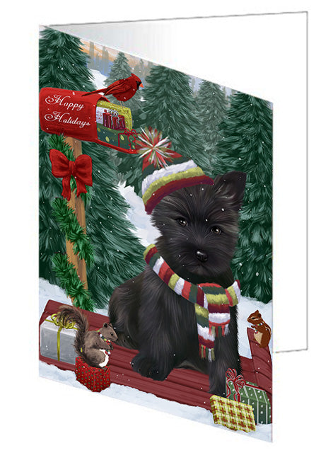 Merry Christmas Woodland Sled Cairn Terrier Dog Note Card NCD69170