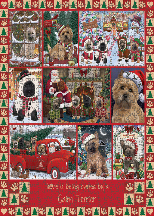 Love is Being Owned Christmas Cairn Terrier Dogs Puzzle with Photo Tin PUZL99328