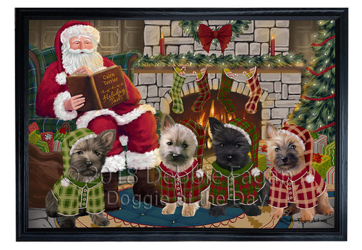 Christmas Cozy Holiday Tails Cairn Terriers Dog Framed Canvas Print Wall Art FCVS173970