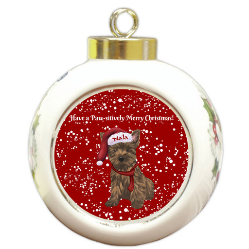 Custom Personalized Pawsitively Cairn Terrier Dog Merry Christmas Round Ball Ornament
