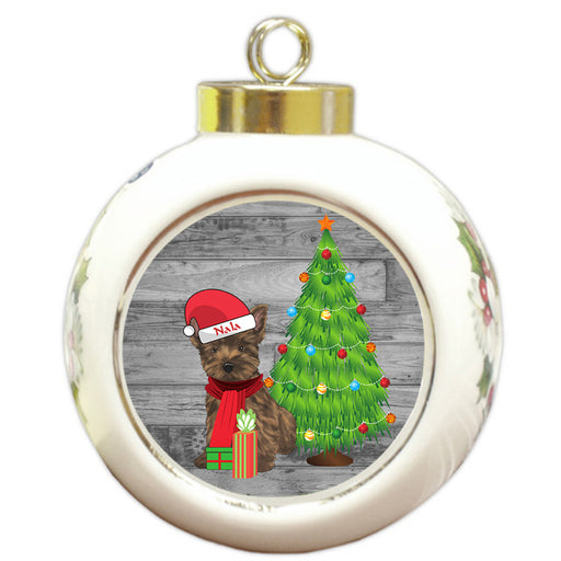 Custom Personalized Cairn Terrier Dog With Tree and Presents Christmas Round Ball Ornament