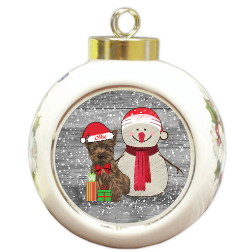 Custom Personalized Snowy Snowman and Cairn Terrier Dog Christmas Round Ball Ornament