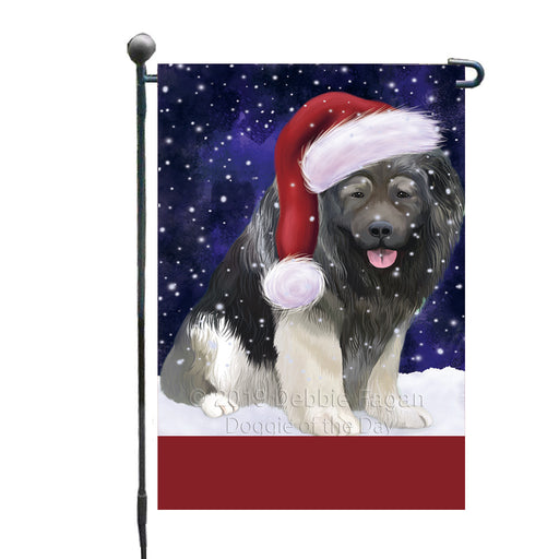 Personalized Let It Snow Happy Holidays Caucasian Ovcharka Dog Custom Garden Flags GFLG-DOTD-A62306