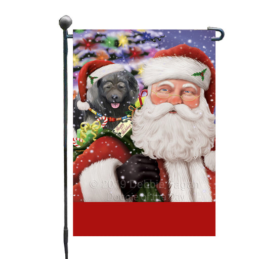 Personalized Santa Carrying Caucasian Ovcharka Dog and Christmas Presents Custom Garden Flag GFLG63749