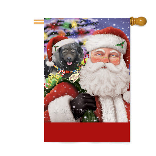 Personalized Santa Carrying Caucasian Ovcharka Dog and Christmas Presents Custom House Flag FLG-DOTD-A63440