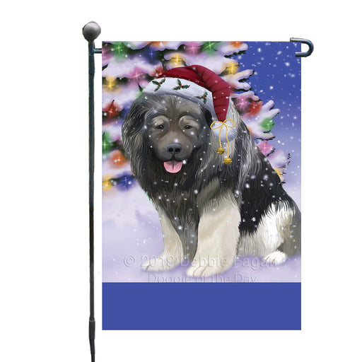 Personalized Winterland Wonderland Caucasian Ovcharka Dog In Christmas Holiday Scenic Background Custom Garden Flags GFLG-DOTD-A61276