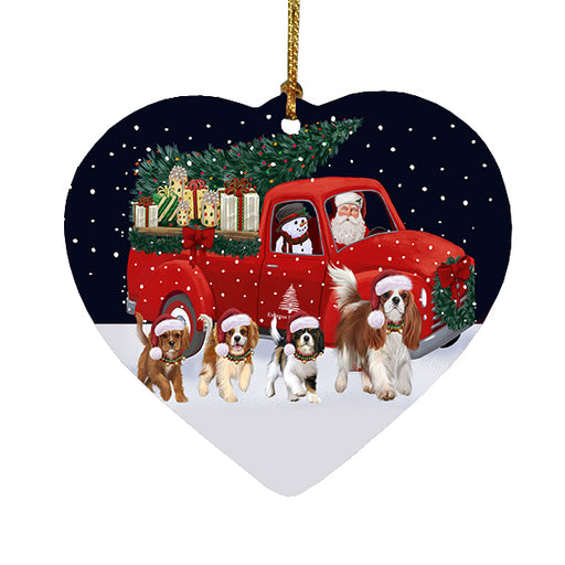 Christmas Express Delivery Red Truck Running Cavalier King Charles Spaniel Dogs Heart Christmas Ornament RFPOR58079