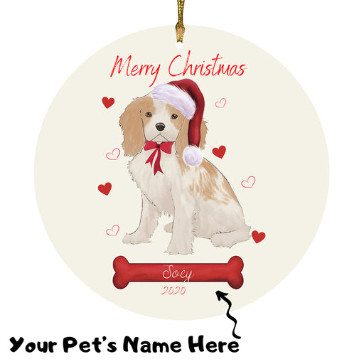 Personalized Merry Christmas  Cavalier King Charles Spaniel Dog Christmas Tree Round Flat Ornament RBPOR58937