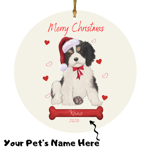 Personalized Merry Christmas  Cavalier King Charles Spaniel Dog Christmas Tree Round Flat Ornament RBPOR58938