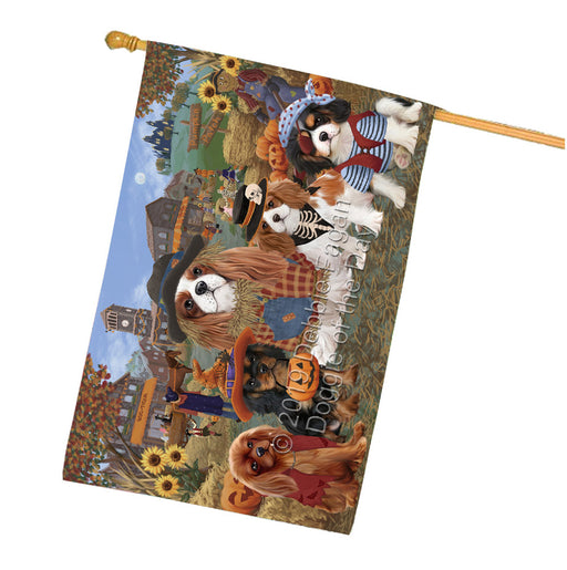 Halloween Round Town And Fall Pumpking Scarecrow Both Cavalier King Charles Spaniel Dogs Garden Flag GFLG65586