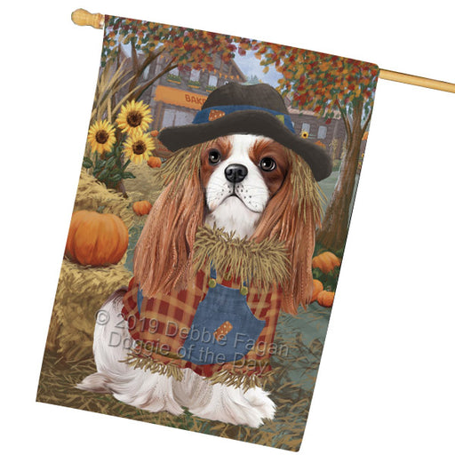 Halloween Round Town And Fall Pumpking Scarecrow Both Cavalier King Charles Spaniel Dogs Garden Flag GFLG65647