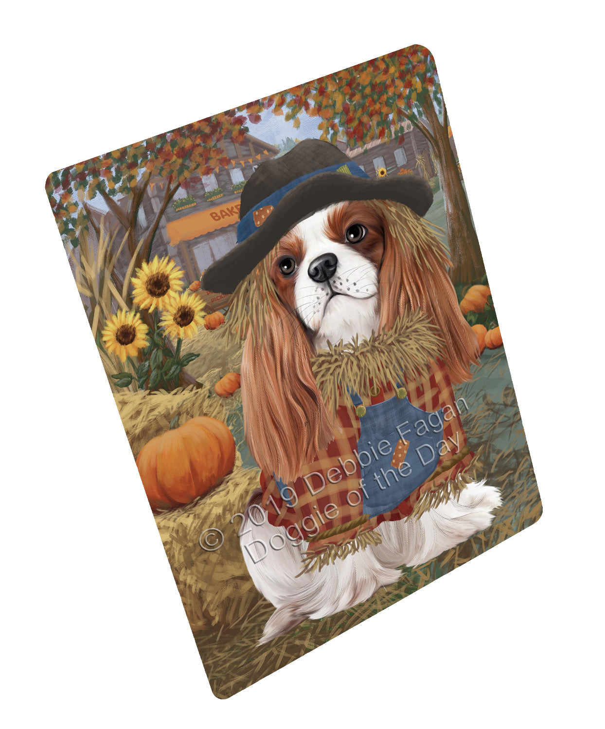 Halloween 'Round Town And Fall Pumpkin Scarecrow Both Cavalier King Charles Spaniel Dogs Large Refrigerator / Dishwasher Magnet RMAG104712