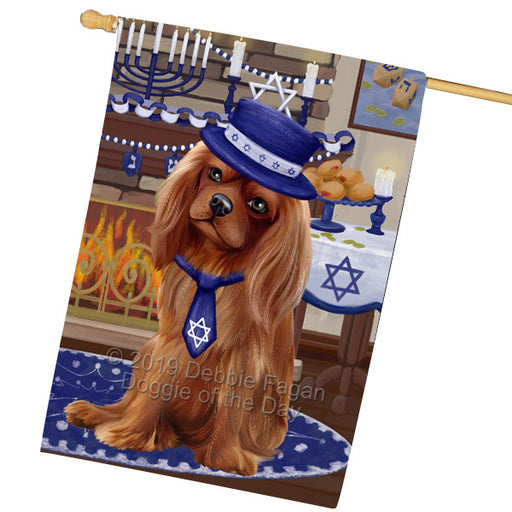 Happy Hanukkah Family and Happy Hanukkah Both Cavalier King Charles Spaniel Dog Garden Flag GFLG65708