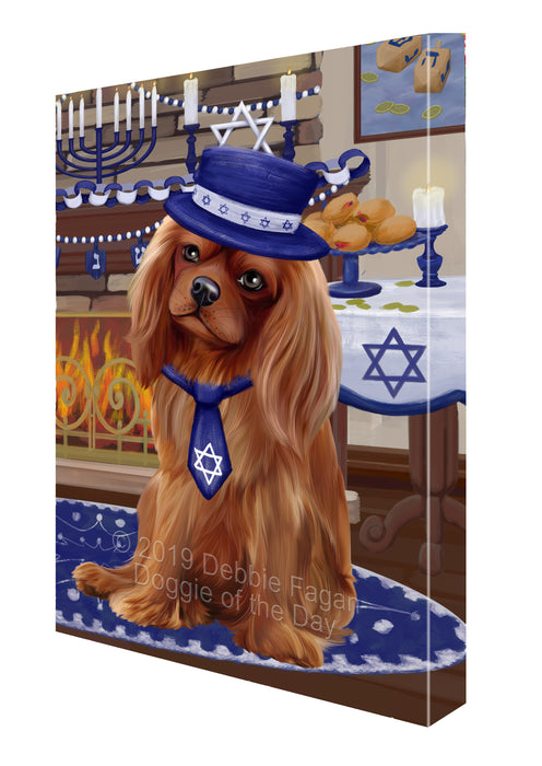 Happy Hanukkah Family and Happy Hanukkah Both Cavalier King Charles Spaniel Dog Canvas Print Wall Art Décor CVS140561
