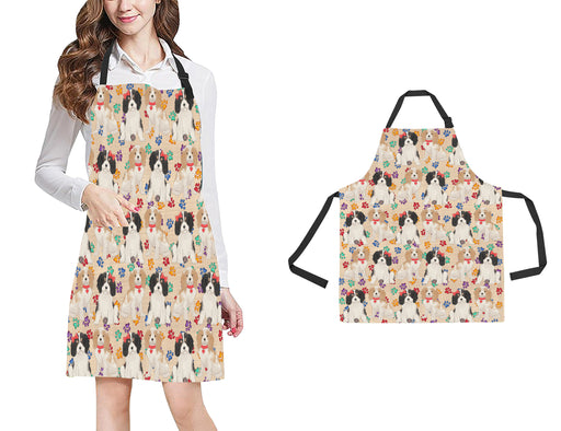 Rainbow Paw Print Cavalier King Charles Spaniel Dogs Red All Over Print Adjustable Apron