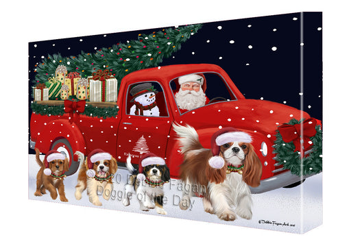 Christmas Express Delivery Red Truck Running Cavalier King Charles Spaniel Dogs Canvas Print Wall Art Décor CVS145970