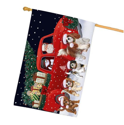 Christmas Express Delivery Red Truck Running Cavalier King Charles Spaniel Dogs House Flag FLG66508