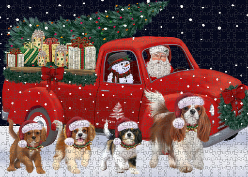 Christmas Express Delivery Red Truck Running Cavalier King Charles Spaniel Dogs Puzzle with Photo Tin PUZL99648