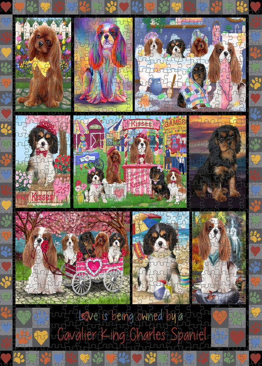 Love is Being Owned Cavalier King Charles Spaniel Dog Grey Puzzle with Photo Tin PUZL98360