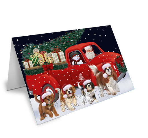 Christmas Express Delivery Red Truck Running Cavalier King Charles Spaniel Dogs Greeting Card GCD75098