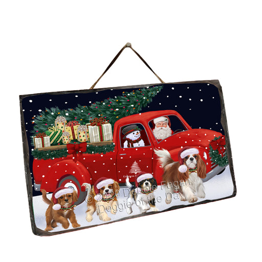 Christmas Express Delivery Red Truck Running Cavalier King Charles Spaniel Dogs Wall Décor Hanging Photo Slate SLTH58147