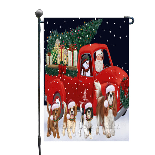 Christmas Express Delivery Red Truck Running Cavalier King Charles Spaniel Dogs Garden Flag GFLG66452