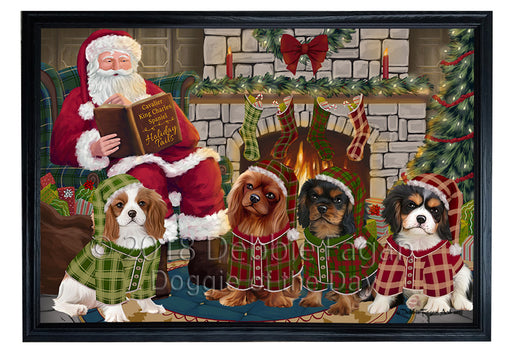 Christmas Cozy Holiday Tails Cavalier King Charles Spaniels Dog Framed Canvas Print Wall Art FCVS173987