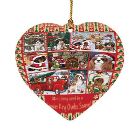 Love is Being Owned Christmas Cavalier King Charles Spaniel Dogs Heart Christmas Ornament HPOR57841