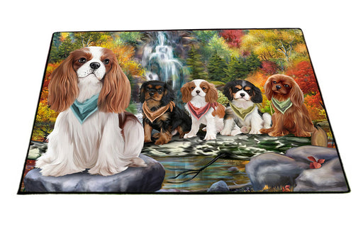 Scenic Waterfall Cavalier King Charles Spaniels Dog Floormat FLMS50064