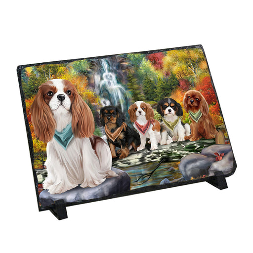 Scenic Waterfall Cavalier King Charles Spaniels Dog Photo Slate SLT49723