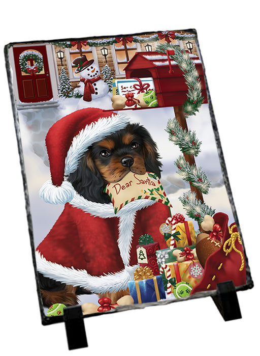 Cavalier King Charles Spaniel Dog Dear Santa Letter Christmas Holiday Mailbox Sitting Photo Slate SLT57501