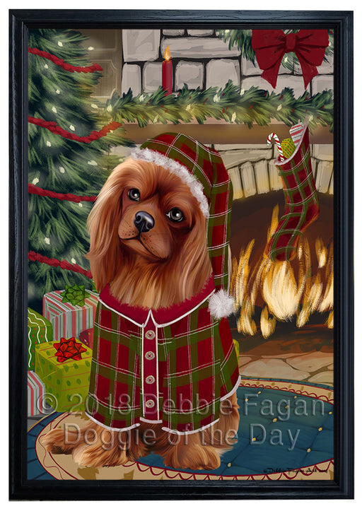 The Stocking was Hung Cavalier King Charles Spaniel Dog Framed Canvas Print Wall Art FCVS176537