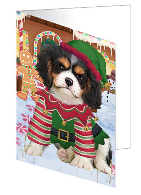 Christmas Gingerbread House Candyfest Cavalier King Charles Spaniel Dog Note Card NCD73397