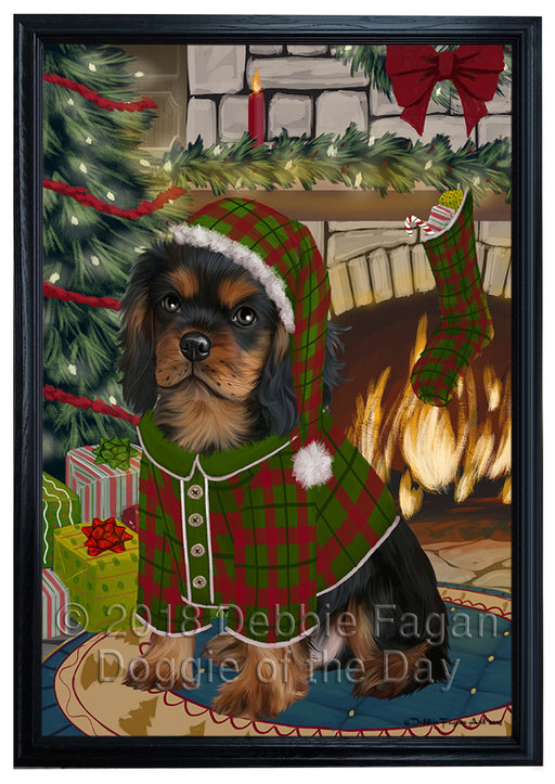 The Stocking was Hung Cavalier King Charles Spaniel Dog Framed Canvas Print Wall Art FCVS176554