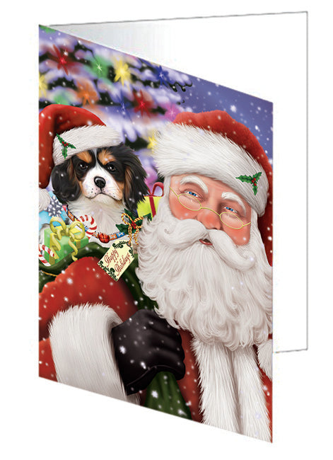 Santa Carrying Cavalier King Charles Spaniel Dog and Christmas Presents Note Card NCD65954