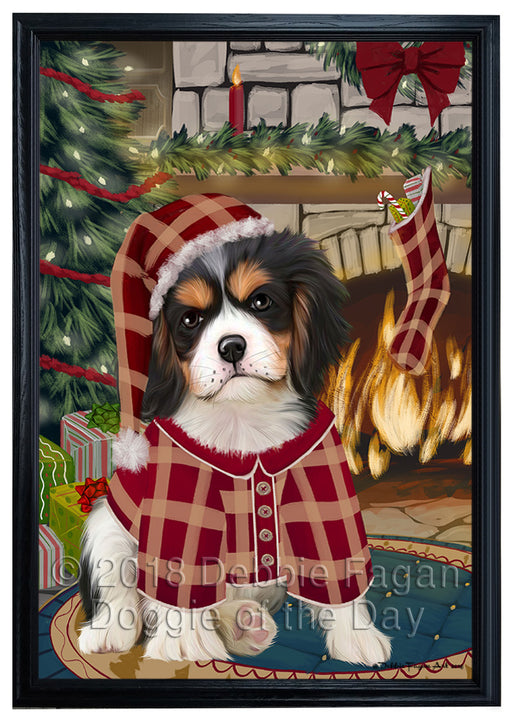 The Stocking was Hung Cavalier King Charles Spaniel Dog Framed Canvas Print Wall Art FCVS176571