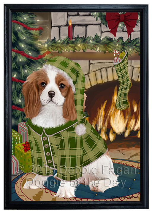 The Stocking was Hung Cavalier King Charles Spaniel Dog Framed Canvas Print Wall Art FCVS176588