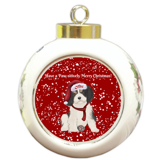 Custom Personalized Pawsitively Cavalier King Charles Spaniel Dog Merry Christmas Round Ball Ornament