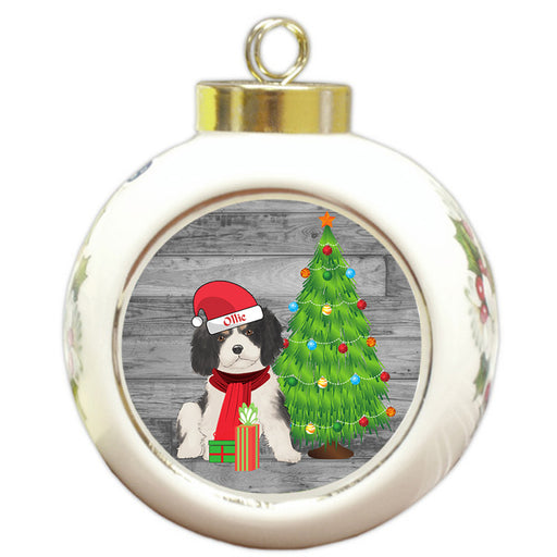 Custom Personalized Cavalier King Charles Spaniel Dog With Tree and Presents Christmas Round Ball Ornament