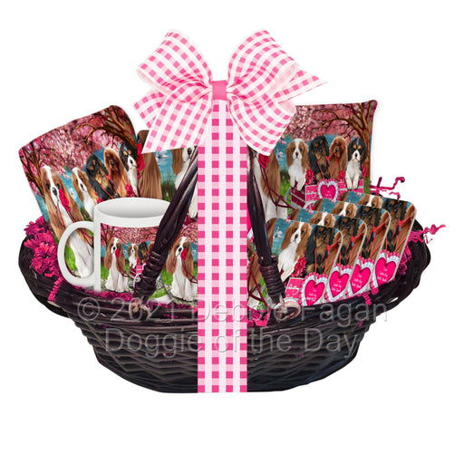 Mother's Day Gift Basket Cavalier King Charles Spaniel Dogs Blanket, Pillow, Coasters, Magnet, Coffee Mug and Ornament