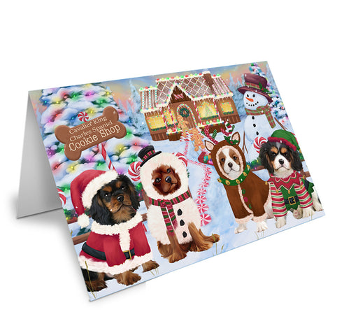 Holiday Gingerbread Cookie Shop Cavalier King Charles Spaniels Dog Note Card NCD73685