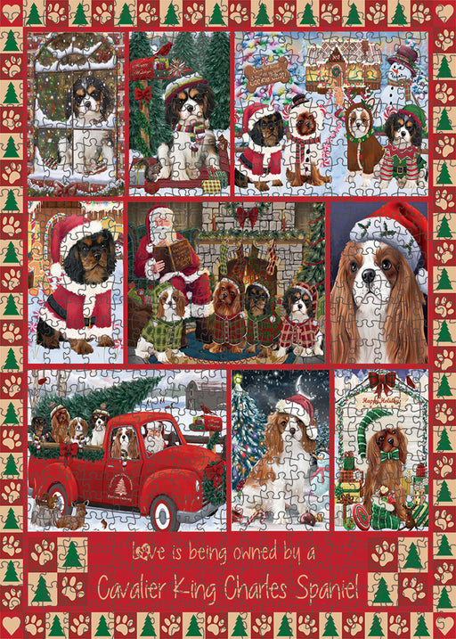 Love is Being Owned Christmas Cavalier King Charles Spaniel Dogs Puzzle with Photo Tin PUZL99332