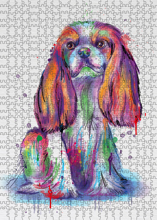 Watercolor Cavalier King Charles Spaniel Dog Puzzle with Photo Tin PUZL97124
